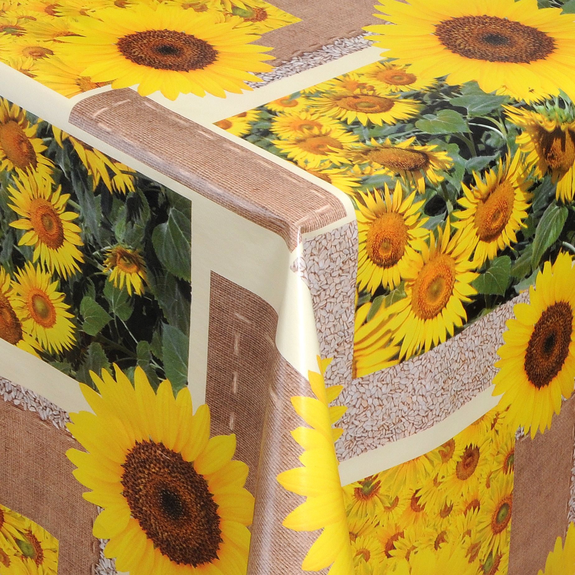 wachstuch tischdecke abwaschbar sonnenblume beige 250x140 cm. Black Bedroom Furniture Sets. Home Design Ideas